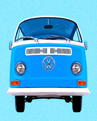 Sixties Mixed Media - Sky Blue Vw Camper by Mark Tisdale
