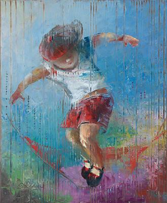Children Flying Kite Painting - Sky Captain by Anna Ravliuc