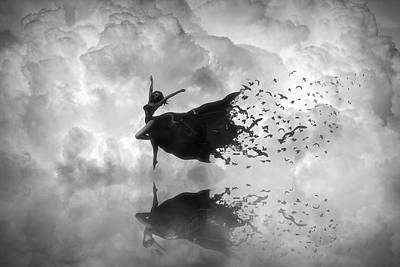 Digital Art - Sky Dancer - Black And White by Lilia D