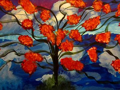 Tree Painting - Sky Flowers  by Stephanie Zelaya