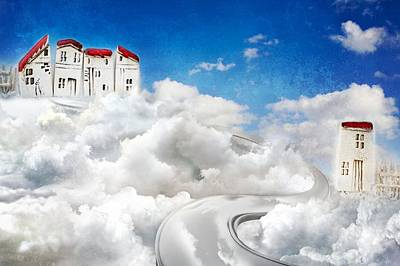 Row Mixed Media - Sky Houses by Heike Hultsch