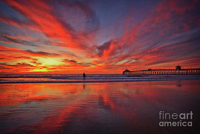 Sky On Fire At The Imperial Beach Pier Art Print