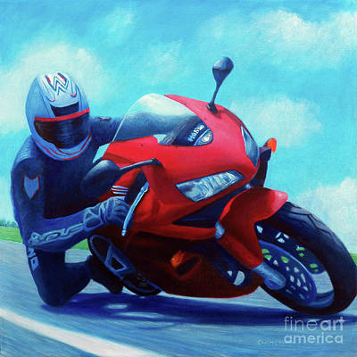 Motorcycle Wall Art - Painting - Sky Pilot - Honda Cbr600 by Brian  Commerford