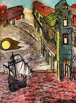 Mixed Media - Sky Ship City by Yury Bashkin