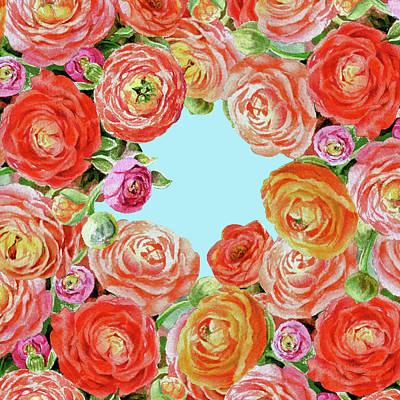 Ranunculus Wall Art - Painting - Sky Through Rununculus Flowers by Irina Sztukowski