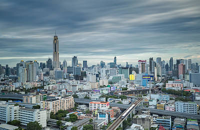 Express Way Photograph - Sky Trains In Bangkok City by Anek Suwannaphoom