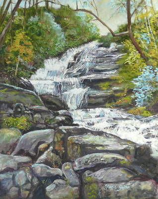 Sky Valley Waterfall Art Print by Gloria Smith