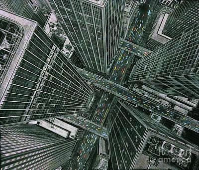 Drawing - Sky View City by Murphy Elliott