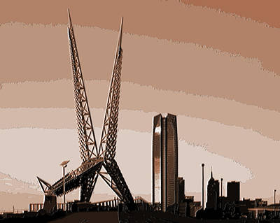 Flycatcher Mixed Media - Skydance Bridge In Oklahoma City by Gina Dittmer