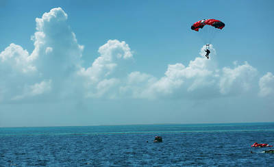 Photograph - Skydiving Into The Blue Hole, Belize by Waterdancer