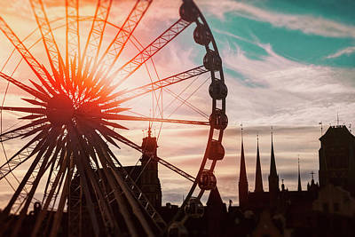 Photograph - Skyline And Ferris Wheel Gdansk Poland  by Carol Japp