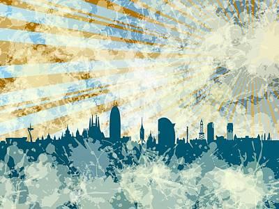 Barcelona Digital Art - Skyline Brcelona In Blue by Alberto RuiZ