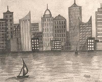Skyline In Black And White Art Print