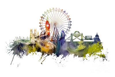 London Skyline Digital Art - Skyline London Big Ben by Justyna JBJart