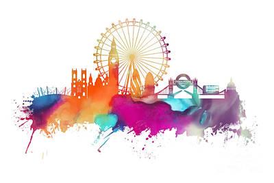 London Skyline Digital Art - Skyline London colored panorame by Justyna JBJart