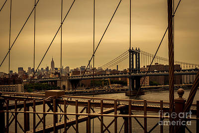 Photograph - Skyline Ny From Brooklyn Bridge by Franz Zarda