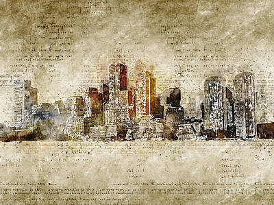 Wild And Wacky Portraits Rights Managed Images - skyline of Boston in modern and abstract vintage-look Royalty-Free Image by Michael Kuelbel
