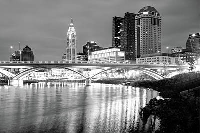 Photograph - Skyline Of Columbus Ohio At Night - Black And White by Gregory Ballos