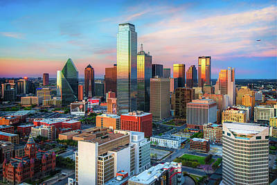 Photograph - Skyline Of Dallas Texas At Sunset by Gregory Ballos