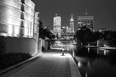 Skyline Of Indianapolis Indiana From The Canal Walk - Black And White Print by Gregory Ballos