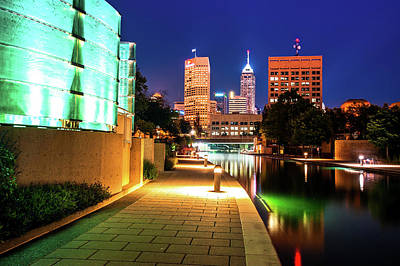 Skyline Of Indianapolis Indiana From The Canal Walk Art Print by Gregory Ballos