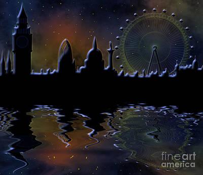 Belfry Digital Art - skyline of London by Michal Boubin