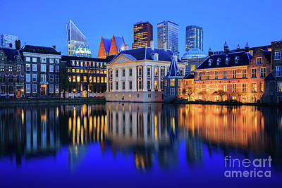 Photograph - Skyline Of The Hague At Dusk During Blue Hour by IPics Photography