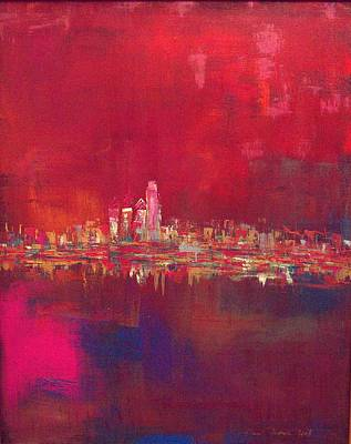 Painting - Skyline Red by Lilliana Didovic