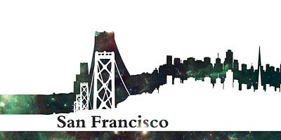 Golden Digital Art - Skyline San Francisco 2 by Alberto  RuiZ
