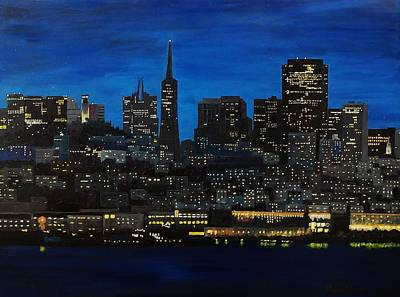 Painting - Skyline San Francisco Night by Mike Caitham
