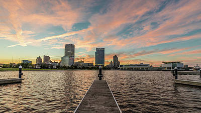 Art Print featuring the photograph Skyline Sunset by Randy Scherkenbach