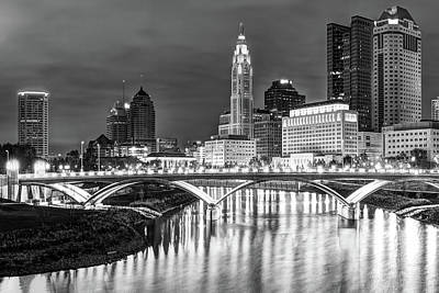 Photograph - Skyline View Of Downtown Columbus Ohio At Dusk - Black And White by Gregory Ballos