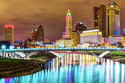 Photograph - Skyline View Of Downtown Columbus Ohio At Dusk by Gregory Ballos