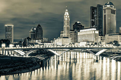 City Scenes Photograph - Skyline View Of Downtown Columbus Ohio At Dusk - Sepia by Gregory Ballos