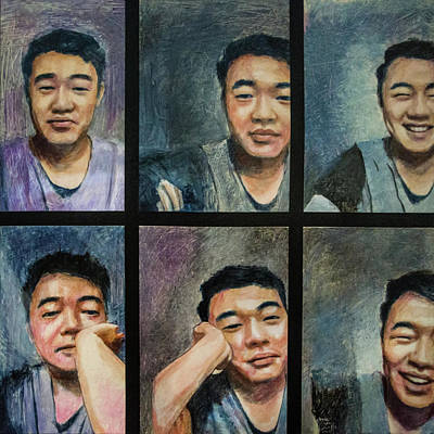 Painting - Skyping With My Friend Phil Zhang by Ron Richard Baviello