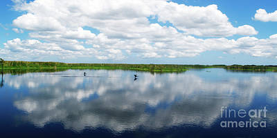 Skyscape Reflections Blue Cypress Marsh Conservation Area Near Vero Beach Florida C2 Art Print