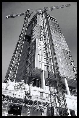 Crane Mixed Media - Skyscraper Construction - Chicago by Daniel Hagerman