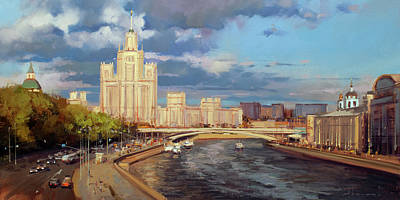 Moscow Wall Art - Painting - Skyscraper On The Kotelnicheskaya Embankment by Alexey Shalaev