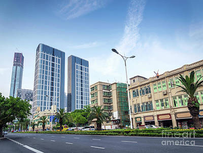 Photograph - Skyscrapers And Road In Downtown Xiamen City China by Jacek Malipan