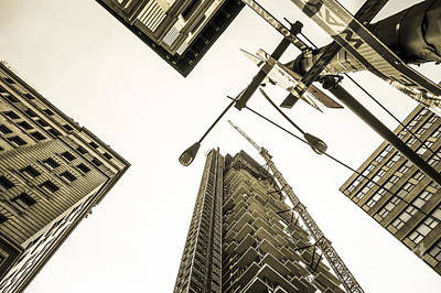 Looming Digital Art - Skyscrapers In New York Seen From by Perry Van Munster