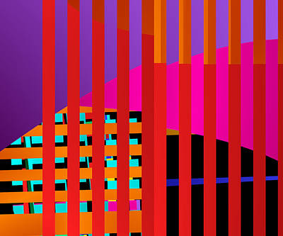 Woven Digital Art - Skyscrapers by Ruth Moratz
