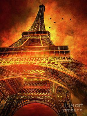 Skyward Mixed Media - Skyward Dramatic Eiffel Tower by KaFra Art