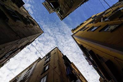 Skyward In Naples Italy - Spanish Quarters Take Three Art Print