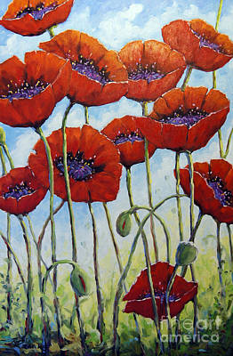 Canadiens Painting - Skyward Poppies by Richard T Pranke