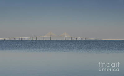 Florida Bridge Photograph - Skyway Bridge In Blue by David Lee Thompson