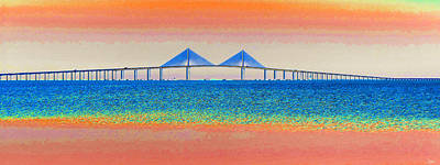 Sunshine Skyway Bridge Wall Art - Painting - Skyway Morning by David Lee Thompson