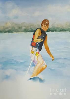 Slalom Water Skier Art Print by Dorothy Weichenthal