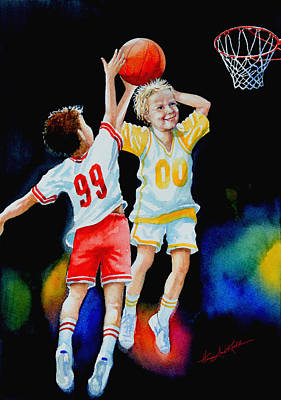Kids Sports Art Painting - Slam Dunk by Hanne Lore Koehler