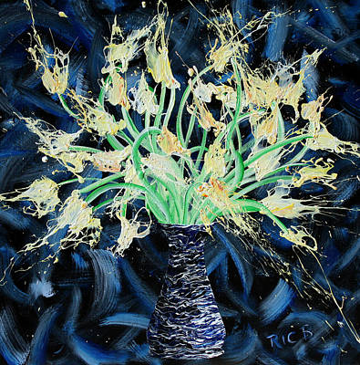 Painting - Slapdragons In Black And Blue Vase by Ric Bascobert