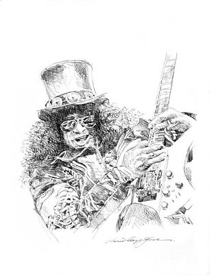 Famous Musician Drawing - Slash by David Lloyd Glover